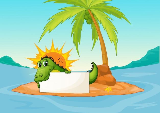 Um crocodilo segurando uma placa vazia em uma pequena ilha