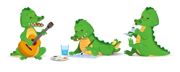 Um crocodilo verde fofo toca guitarra, desenha e bebe um conjunto de café de vetor de crocodilo individual