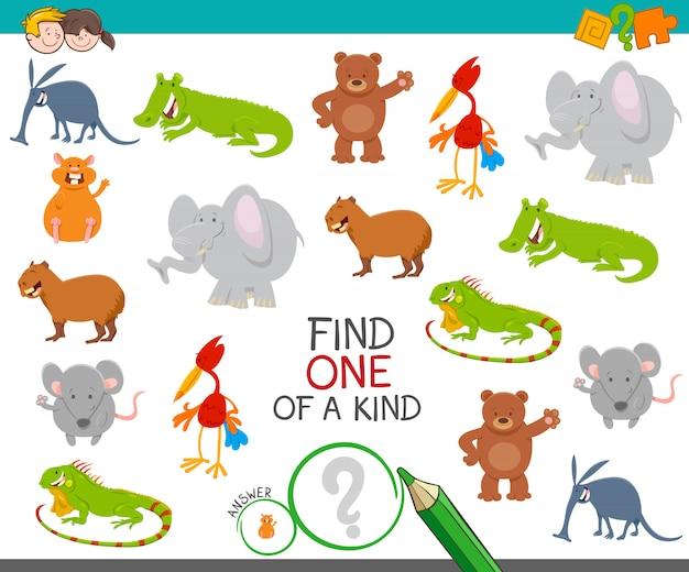 Um de um jogo educativo de imagem amável com animais
