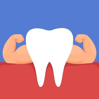 Um dente com músculos do braço fortes o conceito de comida vegetariana saudável e correta