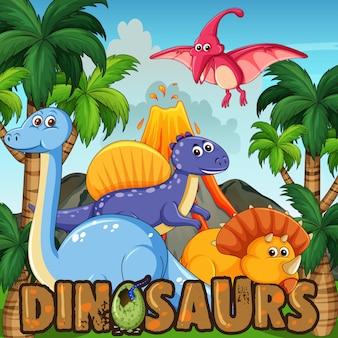 Um desenho animado de dinossauros