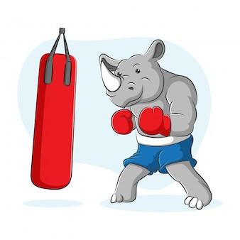 Um desenho animado de um boxeador de rinoceronte em uma atitude de boxe