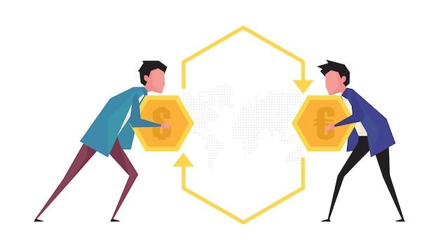 Um desenho animado que mostra o câmbio de moeda com dois homens segurando uma moeda, cara a cara