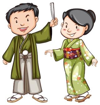 Um desenho colorido de um casal usando um vestido asiático
