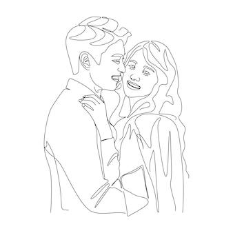 Um desenho de linha casal beijando ilustração de rosto em estilo de linha de arte