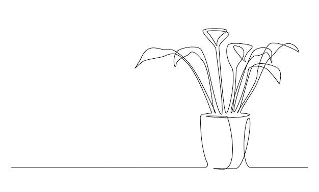 Um desenho de linha contínua da planta caducifólia da casa no vaso bela flor para casa em estilo linear simples. ilustração em vetor curso editável.