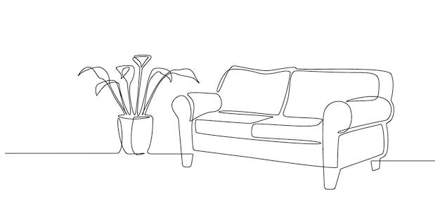 Um desenho de linha contínua de interior com sofá e planta tropical. mobília de casa moderna para apartamento elegante em estilo simples de doodle. ilustração em vetor de traço editável