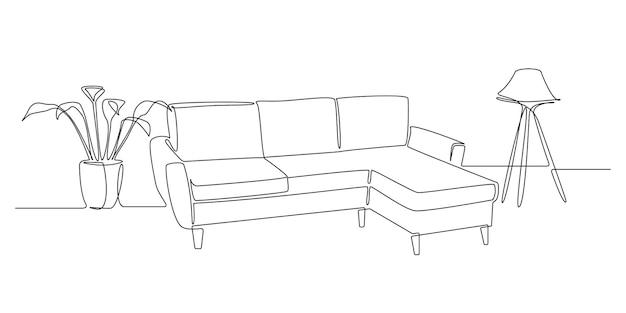 Um desenho de linha contínua de sofá ou sofá com lâmpada e planta em vaso. mobiliário escandinavo moderno em estilo linear simples. ilustração em vetor de traço editável