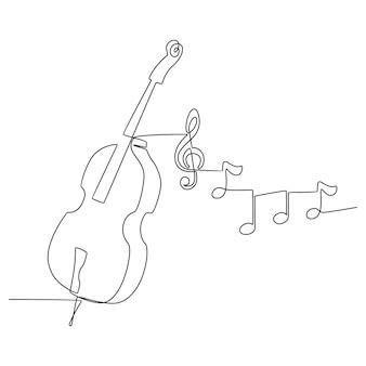 Um desenho de linha contínua de um desenho de arte de linha de instrumento musical de violino com forma abstrata