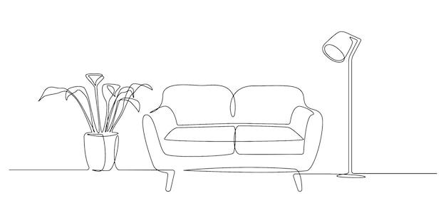 Um desenho de linha contínuo de sofá, lâmpada e planta. mobiliário moderno plano para o interior da sala de estar em estilo linear simples. ilustração em vetor de traço editável