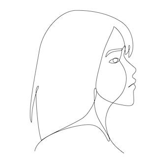 Um desenho de linha da emoção do rosto triste da mulher asiática sentindo a vista lateral. arte da mulher de pessoas de linha de desenho.