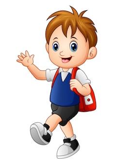 Um desenho de menino de escola bonito ir para a escola