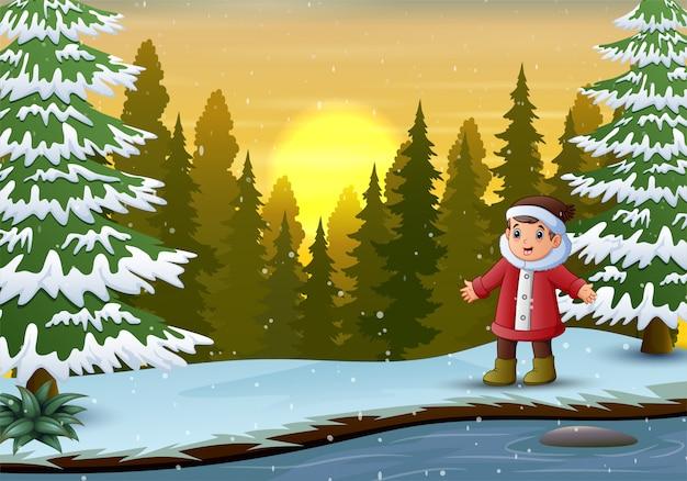 Um desenho de menino na floresta de inverno