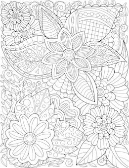 Um desenho de padrão de flor grande bonito crescendo devagar rodeado por folhas deliciosamente. desenho de linha bonita da planta com floração ringe gradualmente com pétalas grandes magnificamente.