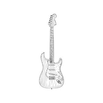 Um desenho de vetor de ilustração de guitarra elétrica