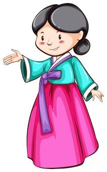 Um desenho simples de uma menina asiática