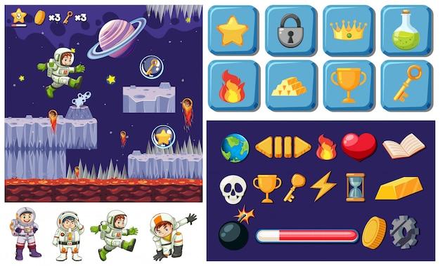 Um design de elementos de jogo espacial