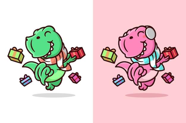 Um dino feliz verde e rosa saltando com presente de natal