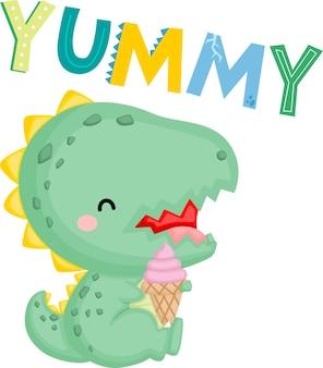 Um dinossauro bebê fofo com um sorvete
