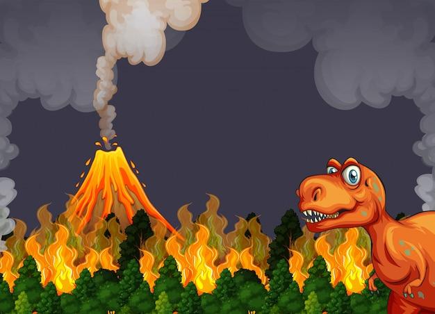 Um dinossauro fugir da erupção do vulcão