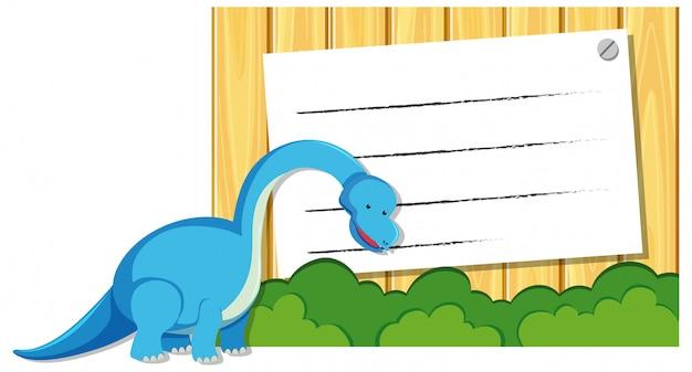 Um dinossauro no modelo de nota