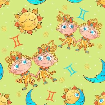 Um divertido padrão sem costura infantil. signo do zodíaco gêmeos.