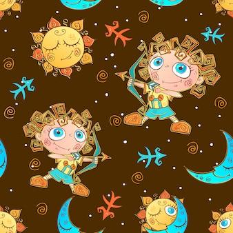 Um divertido padrão sem emenda para as crianças. sagitário do signo do zodíaco.
