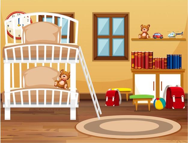 Um dormitório interior