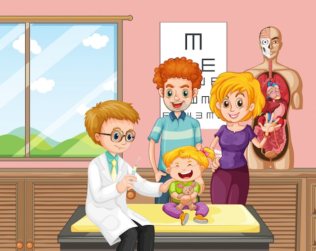 Um, doutor, dar, criança, vacina