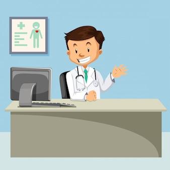 Um, doutor, em, clínica, ilustração