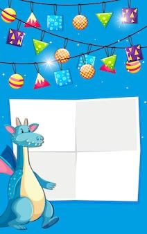 Um dragão na nota em branco para copyspace