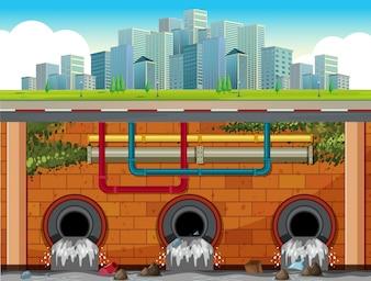 Um, dreno, sistema, subterrâneo, de, cidade grande