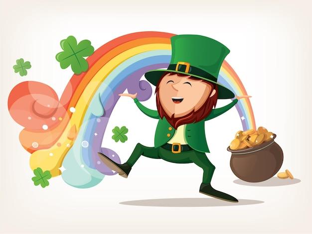 Um duende dançando sob o arco-íris que sai de seu pote com ouro.