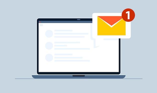 Um e-mail de notificação no notebook.