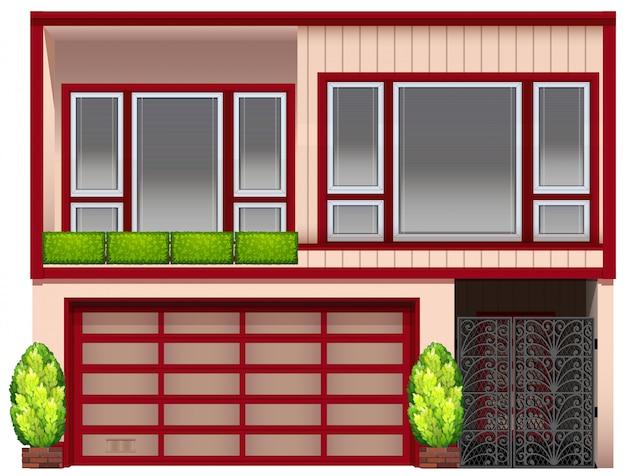 Um edifício com molduras vermelhas