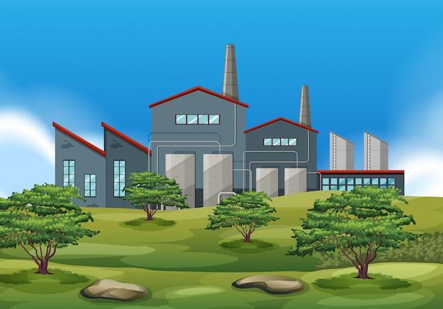 Um, edifício fábrica, em, natureza