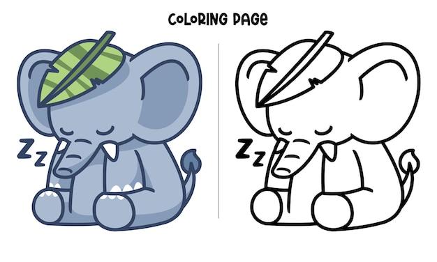 Um elefante dormindo com uma folha