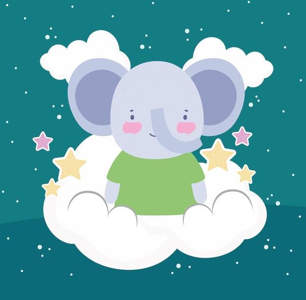 Um elefante fofo com nuvens de desenhos animados