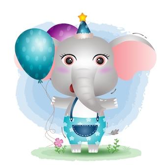 Um elefante fofo usando um chapéu de aniversário segurando um balão