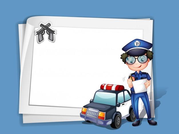 Um, em branco, papelaria, com, um, policial