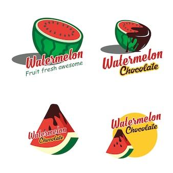 Um emblema de logotipo conjunto melancia