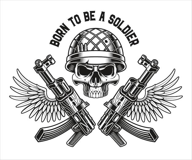 Um emblema em preto e branco de um crânio militar com rifles kalashnikov