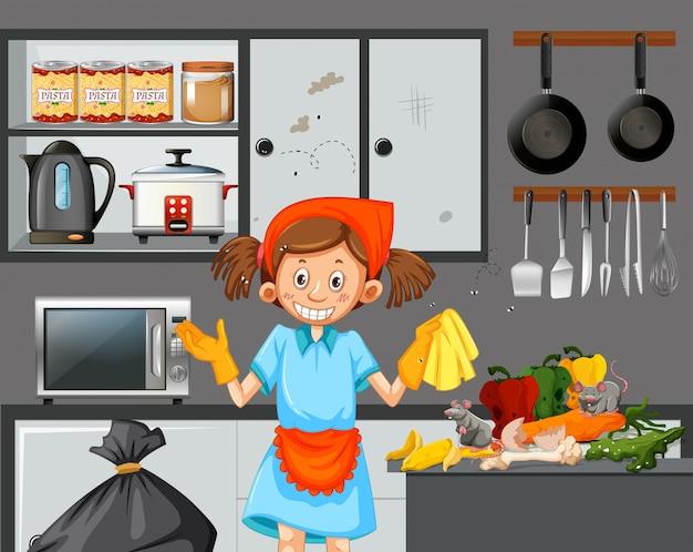 Um, empregada, limpeza, sujo, cozinha