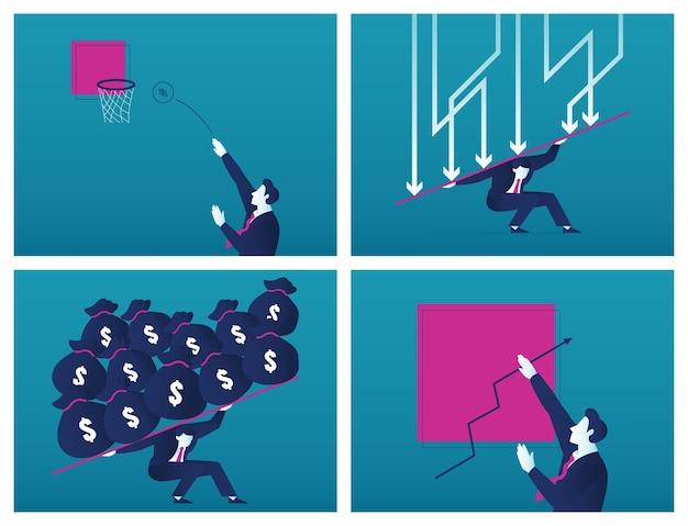 Um empresário carrega um fardo sobre a crise financeira global com o símbolo de diminuição de seta e um homem de negócios brincando com um conjunto de ilustrações de lucro.