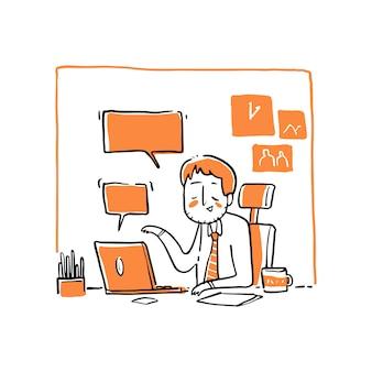 Um empresário com reunião online.