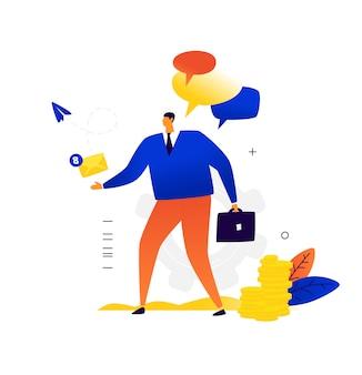 Um empresário com uma maleta envia e recebe uma carta. correspondência comercial e contatos com parceiros de negócios.