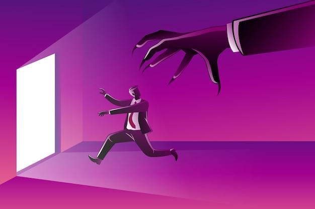 Um empresário correndo em direção à porta perseguido por uma mão gigante do mal