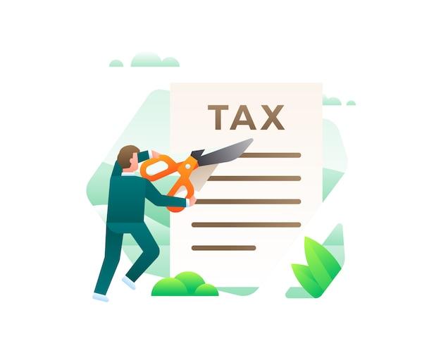 Um empresário cortando documentos fiscais usando uma tesoura