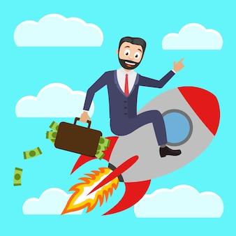 Um empresário de sucesso empurra um foguete e segura uma mala cheia de dinheiro.