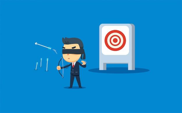 Um empresário está atirando no alvo errado. ilustração vetorial